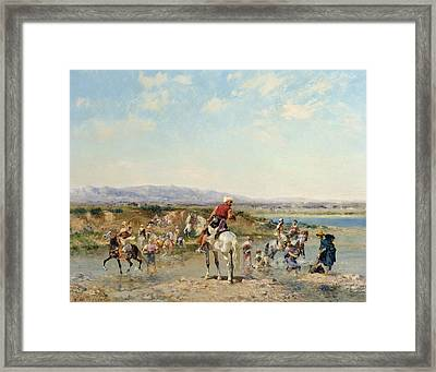 Arabs At An Oasis  Framed Print by Georges Washington