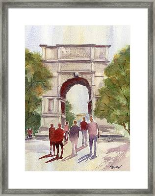 Arch Of Titus Framed Print by Marsha Elliott