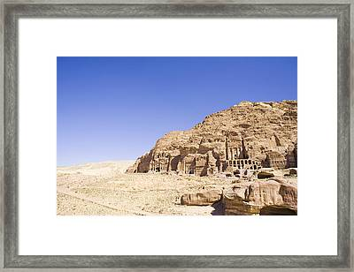 Archaeological Remains Of Petra  Unesco World Heritage Site Jordan, Middle East Framed Print by Gallo Images