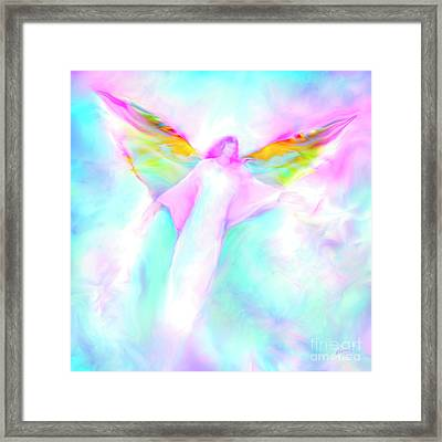 Archangel Gabriel In Flight Framed Print by Glenyss Bourne