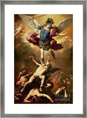Archangel Michael Overthrows The Rebel Angel Framed Print by Luca Giordano
