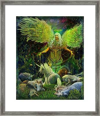 Archangel Raphael Protector Of Unicorns Framed Print by Steve Roberts