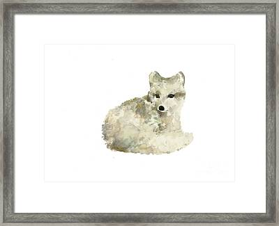 Arctic Fox Watercolor Art Print Painting Framed Print by Joanna Szmerdt