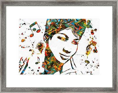 Aretha Franklin Paint Splatter Framed Print by Dan Sproul