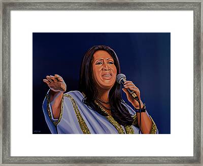 Aretha Franklin Painting Framed Print by Paul Meijering