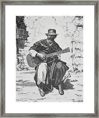 Argentina Gaucho Playing The Guitar Mid Framed Print by Vintage Design Pics