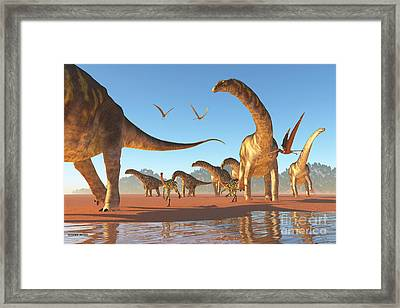 Argentinosaurus Herd Framed Print by Corey Ford