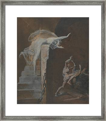 Ariadne Watching The Struggle Of Theseus With The Minotaur Framed Print by Henry Fuseli