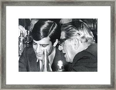 Aristotle Onassis Right, With His Son Framed Print by Everett