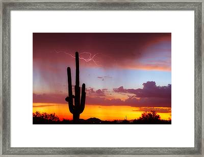 Arizona Lightning Sunset Framed Print by James BO  Insogna