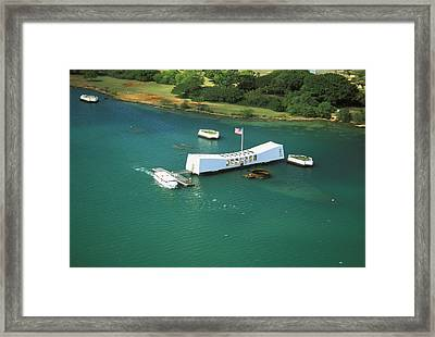 Arizona Memorial From Above Framed Print by Peter French - Printscapes