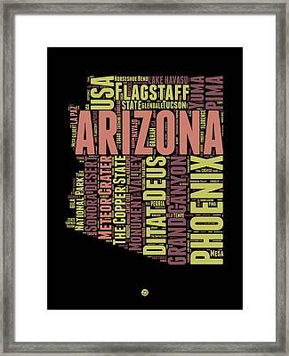 Arizona Word Cloud Map 1 Framed Print by Naxart Studio