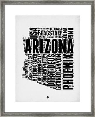Arizona Word Cloud Map 2 Framed Print by Naxart Studio
