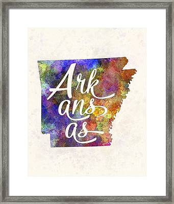 Arkansas Us State In Watercolor Text Cut Out Framed Print by Pablo Romero