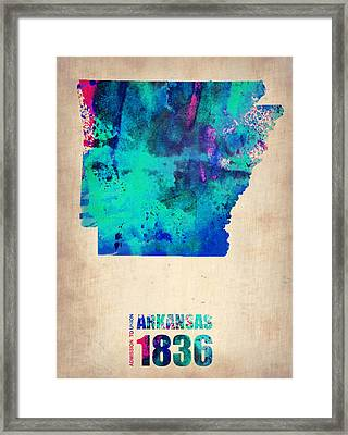 Arkansas Watercolor Map Framed Print by Naxart Studio