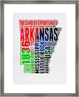 Arkansas Watercolor Word Cloud  Framed Print by Naxart Studio