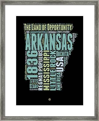 Arkansas Word Cloud 1 Framed Print by Naxart Studio