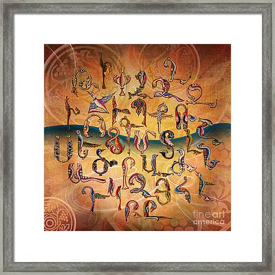 Armenian Birds Alphabet Framed Print by Bedros Awak