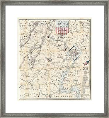 Army Map Of Seat Of War In Virginia 1862 Framed Print by Stephen Stookey