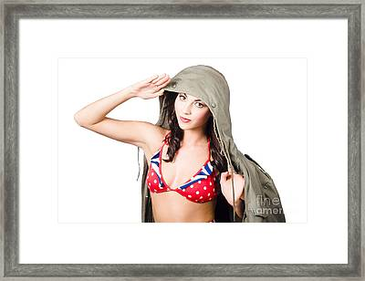 Army Pinup Saluting Retro Fashion In 1940 Style Framed Print by Jorgo Photography - Wall Art Gallery