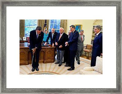 Arnold Palmer In The Oval Office With Barack Obama Framed Print by Samantha Appleton