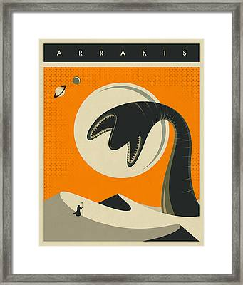 Arrakis Travel Poster Framed Print by Jazzberry Blue