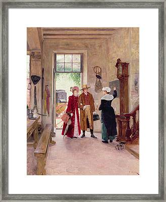 Arrival At The Inn Framed Print by Charles Edouard Delort