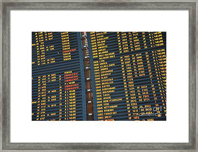 Arrival Board At Paris Charles De Gaulle International Airport Framed Print by Sami Sarkis
