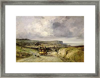 Arrival Of A Stagecoach At Treport Framed Print by Jules Achille Noel