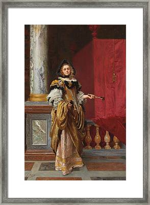 Arriving At The Ball Framed Print by Gustave Jacquet