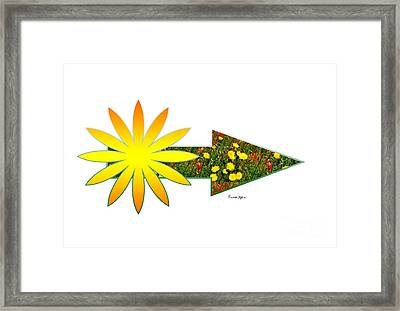 Arrow With Sun And Flowers Framed Print by Riccardo Maffioli