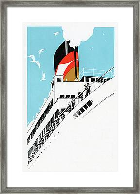 Art Deco 1920s Illustration Of A Cruise Ship With Passengers, 1928  Framed Print by American School