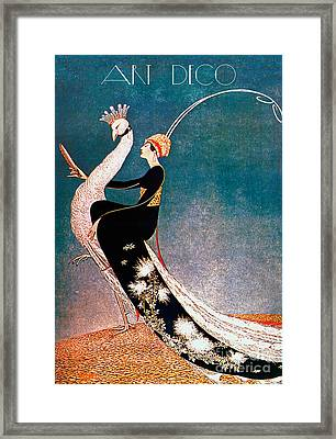 Art Deco Fashion Peacock Framed Print by Mindy Sommers