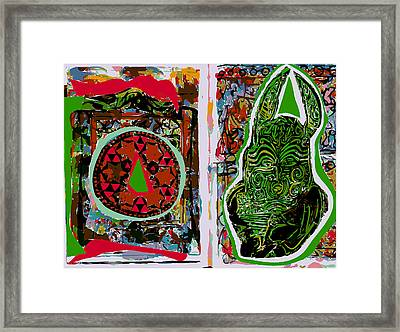 Art Journal With Green Hare And Mandala Framed Print by F Burton