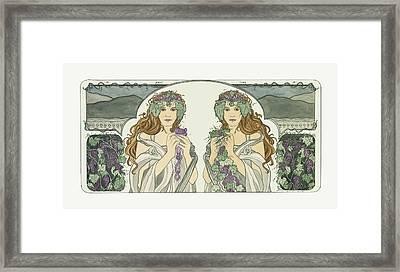 Art Nouveau Pinot Noir Vineyard Framed Print by Dee Van Houten