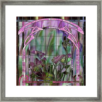 Art Nouveau Stained Glass Panel Framed Print by Mindy Sommers