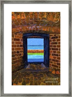 Art View Through An Armory Window Framed Print by Kay Brewer