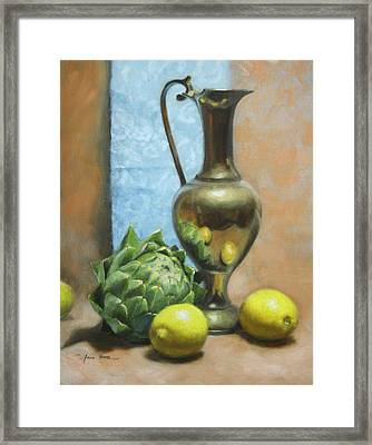 Artichoke And Lemons Framed Print by Anna Rose Bain