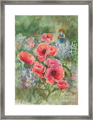 Artist In The Garden Framed Print by B Rossitto