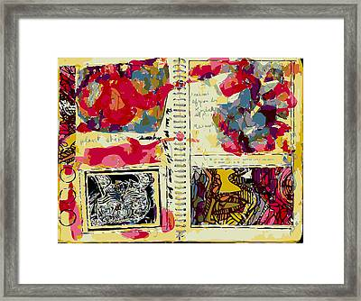 Artist Sketchbook Page With Tattooed Hare And Watercolor Washes Framed Print by F Burton