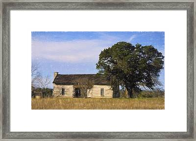 Artistic Texas Log Cabin  Framed Print by Linda Phelps