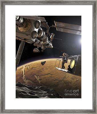 Artists Concept Of An Orbital Outpost Framed Print by Steven Hobbs