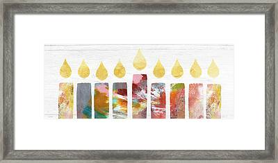 Artists Menorah- Art By Linda Woods Framed Print by Linda Woods
