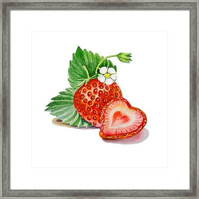 Artz Vitamins A Strawberry Heart Framed Print by Irina Sztukowski