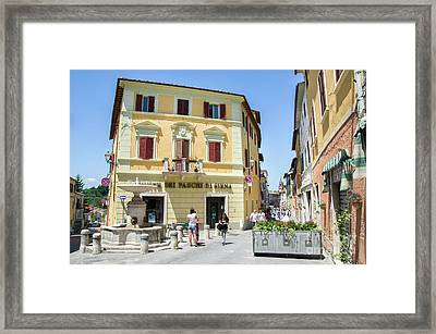 Asciano, People Stroll In The Small Square Framed Print by Luca Lorenzelli