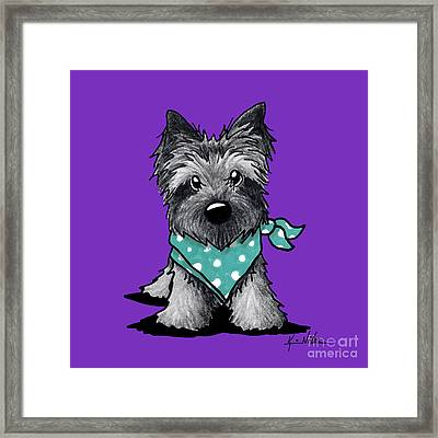 Ash Cairn Terrier In Dots Framed Print by Kim Niles