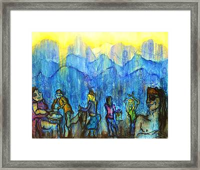 Asheville Drum Circle Framed Print by Lizzie  Johnson