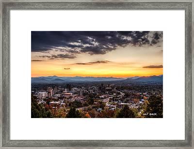 Asheville From Above Framed Print by Walt  Baker