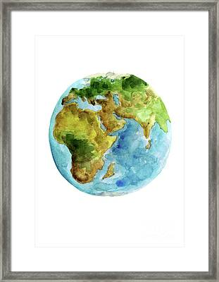 Planet Earth, Asia Map Poster, Africa Map Watercolor Painting, Blue Green Yellow Globe Art Print Framed Print by Joanna Szmerdt