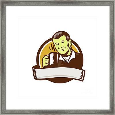 Asian Man Drinking Coffee Circle Woodcut Framed Print by Aloysius Patrimonio
